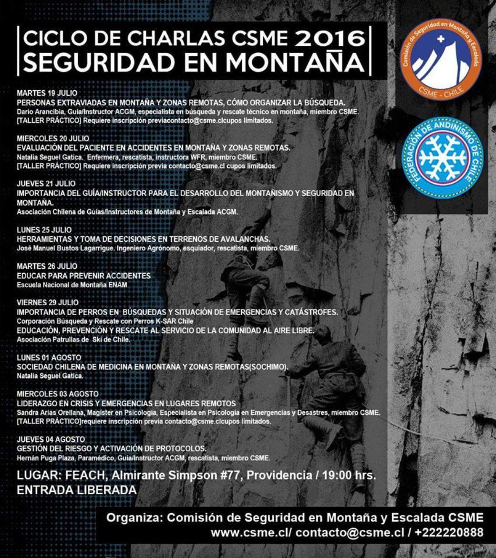CICLO DE CHARLAS / TALLERES PREVENCIÓN y SEGURIDAD EN MONTAÑA (CSME)